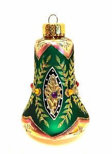 Vintage-Christmas-Ornament-Hand-Crafted-Glass-Bell-Shape-Glitzy-4-inches-Tall