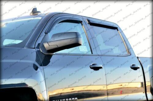 DEFLECTOR RAIN GUARD WINDOW VISORS for 14-18 Chevrolet Silverado Crew Cab