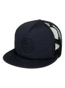 QUIKSILVER MENS BASEBALL CAP.PRESSURE SNAP FLAT PEAK BLACK TRUCKER ... aad42f60308e