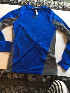 Adroit Under Armour Manches Longues Bleu Gris Ventilé Ajustée Heat Gear Shirt Y Med-afficher Le Titre D'origine à Distribuer Partout Dans Le Monde