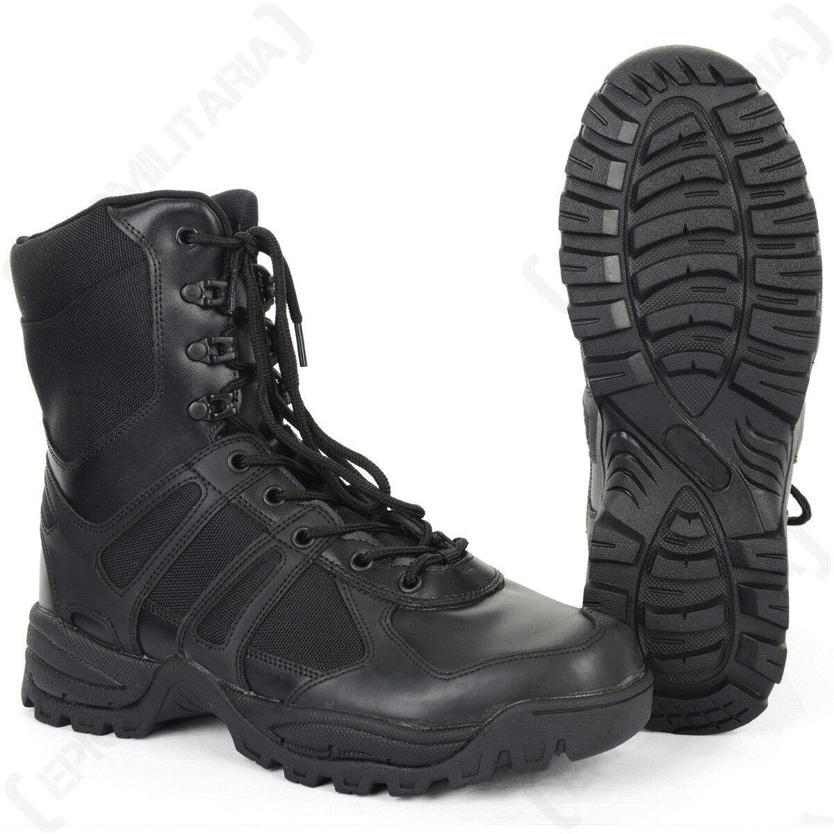 Stivali Neri Combat-Militare dell'Esercito Cadetti Scarpe Da Sicurezza Lavoro Escursionismo tutte le taglie