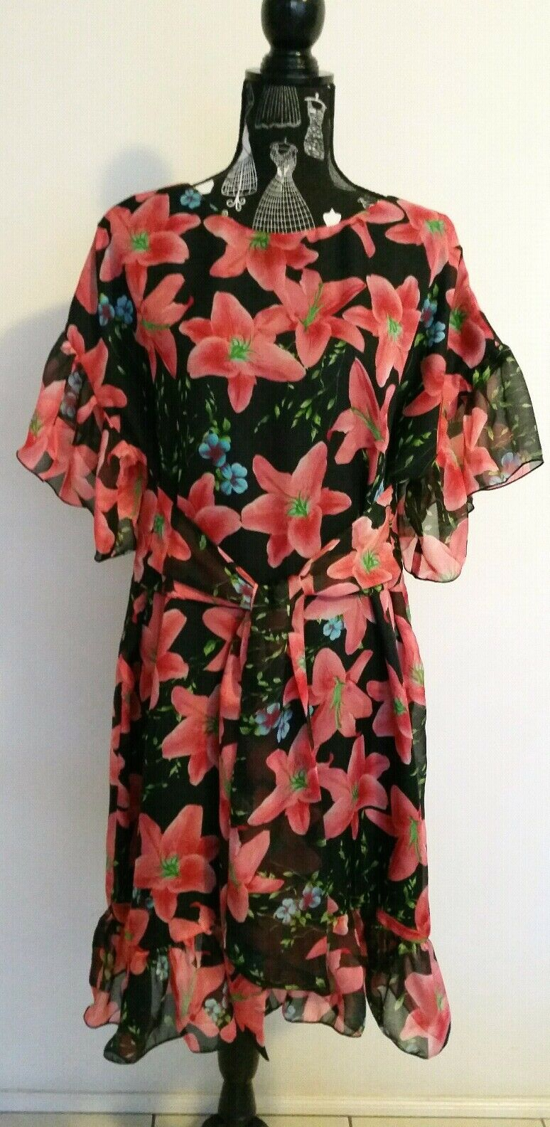 NEW Red Lily ruffle shift dress with tie waist belt, size 12-14