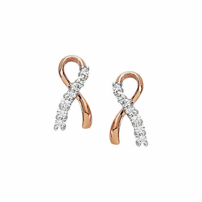 Diamond Breast Cancer Me and My Two Friends Ribbon Earrings In 14K pink gold