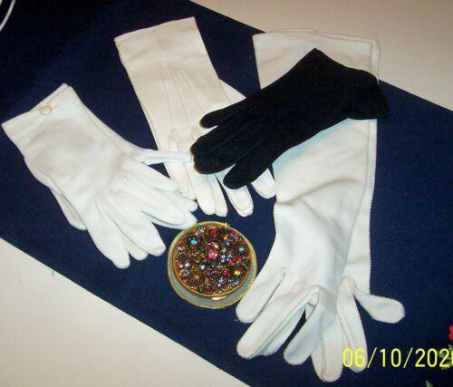 Vintage 1950s Gloves  Lot of 4 & Vintage powder c