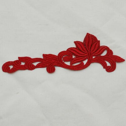 Guipure a mano ricami in pizzo Applique Motif-conteggio 2-Rosso 14cm x 5cm-M34