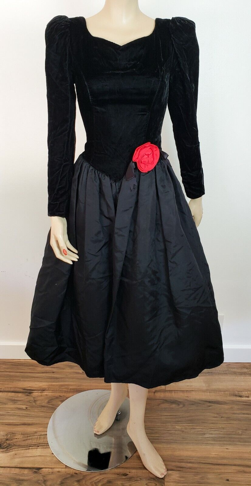 Vtg 1980s GUNNE SAX TAFFETA & VELVET PROM DRESS G… - image 1
