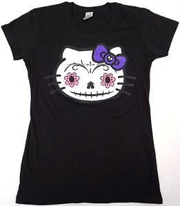 6f4f70d47f0 HELLO KITTY Zombie T-shirt Sugar Skull Women s JUNIORS Tee Black New ...