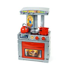Details zu Kinderküche Spielküche Spielzeug Küche mit Zubehör 7 Teile, Rot  / Grau