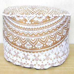 "Ottomans, Footstools & Poufs Delicious 22"" White Gold Ottoman Pouf Cover Home Decor Indian Mandala Cotton Round Pouffe Orders Are Welcome."