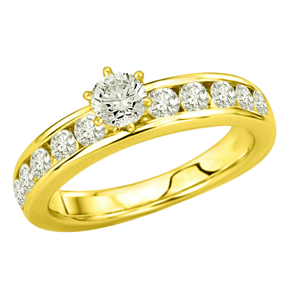 0.70TCW L-M VS2 SDJ Cert Real Diamond Engagement Bridal Ring in 18kt Yellow gold
