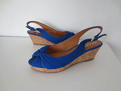 Buffalo Schuhe Gr.41 Sandalen shoes Textil + Leder Kork Wedges Sandaletten