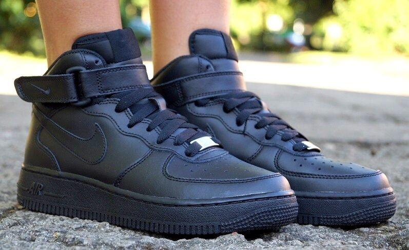 Chaussures neuves Nike Air Force 1 mi Baskets montantes noir de sport 314195004
