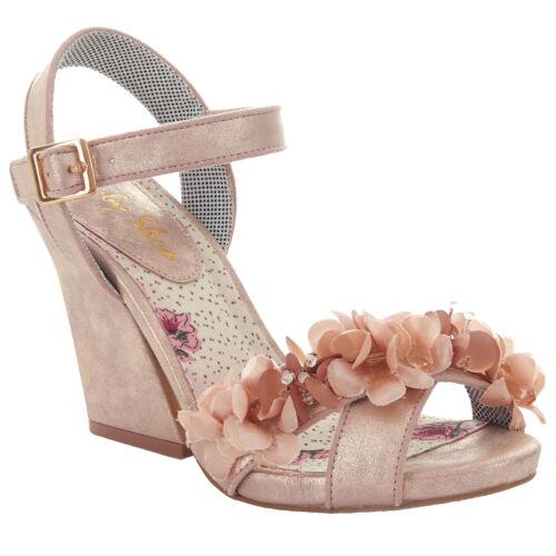 Ladies Ruby Shu Ellen Champagne Floral Vegan friendly sandals shoes