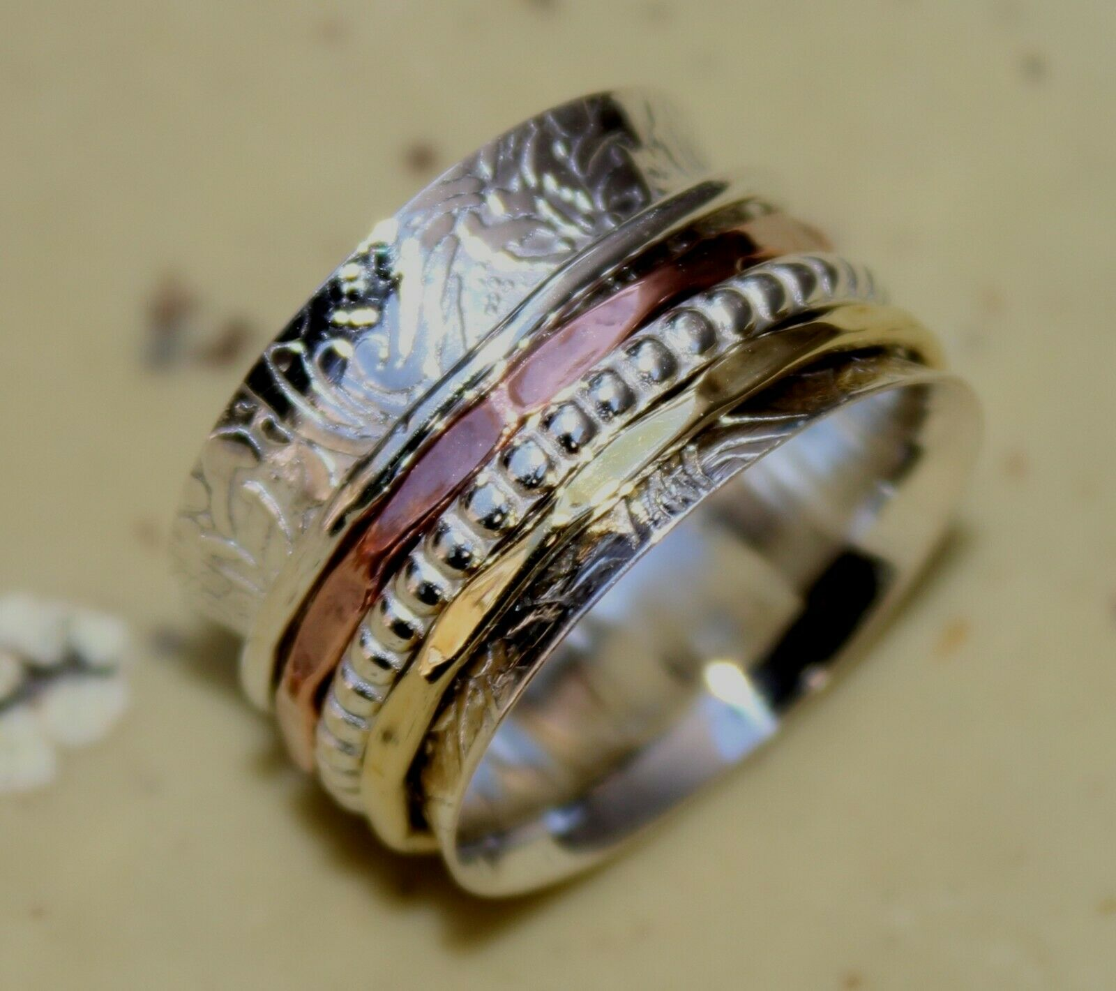 Handmade Solid 925 Sterling Silver Wide Band Copper /& Brass Spinner Ring Good Quality All US Size