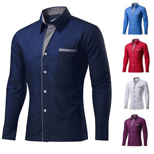 bca3d549c06 UK NEW Mens Long Sleeve Dress Shirts Formal Business Casual Shirt ...