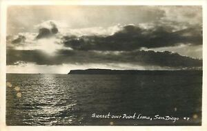 San-Diego-California-Sunset-Over-Point-Loma-1950s-Real-Photo-Postcard-RPPC