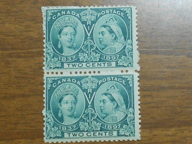 CANADA STAMP SCOTT #52 1897 QUEEN VICTORIA TWO CENT MH-OG STRIP OF 2