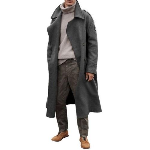 Homme Simple Boutonnage Trench Coat Long Vestes Casual Lapel Pardessus Outwear