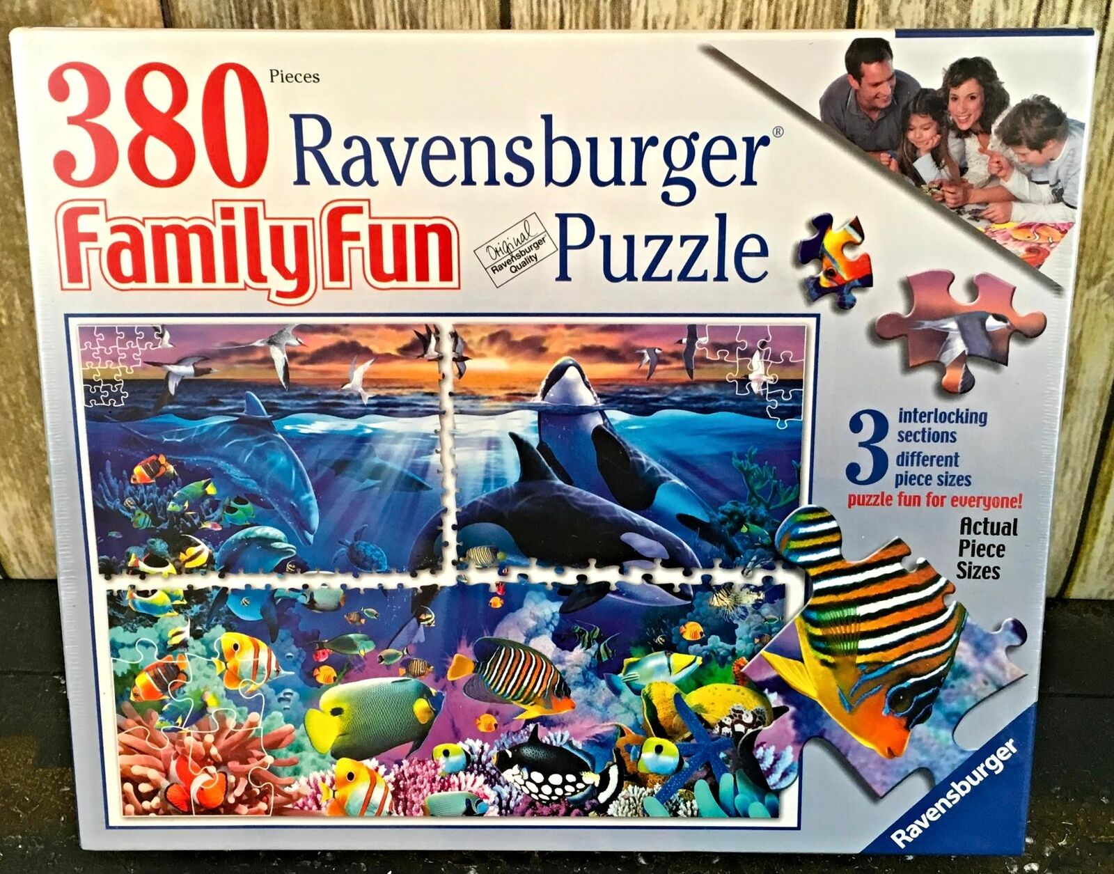Ravensburger Puzzle Family Fun 380 Pieces Ocean Marvels Dolphin Fish Coral