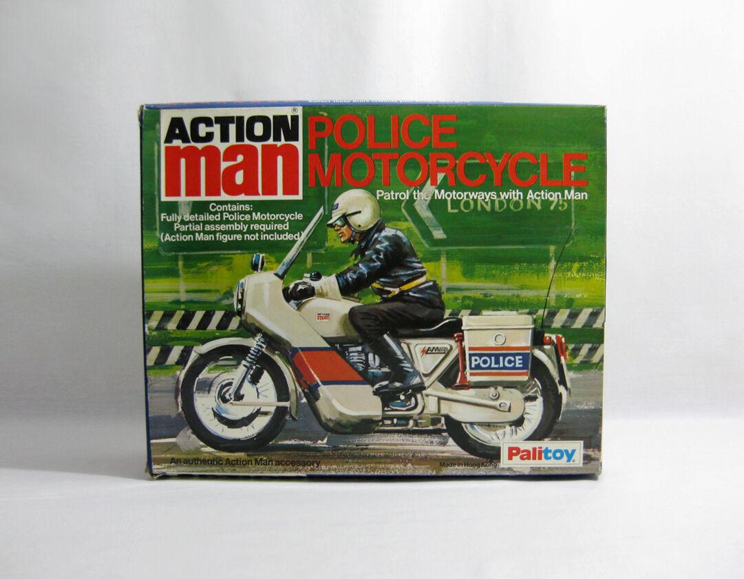 NUOVO 1980s azione uomo ✧ Motocicletta della polizia ✧ VINTAGE Paligiocattolo G.I. Joe Nuovo di zecca con scatola