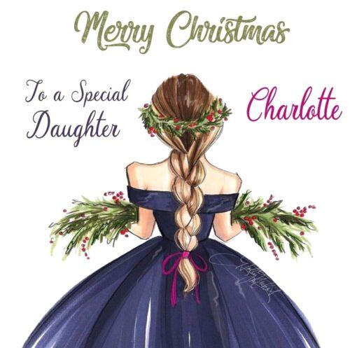 HANDMADE PERSONALISED SPECIAL GIRL WREATH  CHRISTMAS  CARD