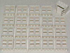 LEGO LOT OF 20 NEW WHITE 2 X 4 X 3 WINDOWS WITH PANES CITY HOUSE PIECES
