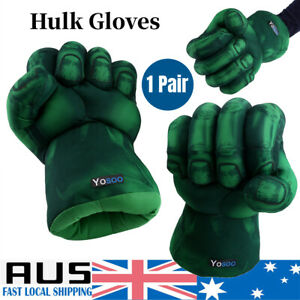 2x Incredible Hulk Gloves Smash Hand Plush Punching Boxing Fist Cosplay AU Stock