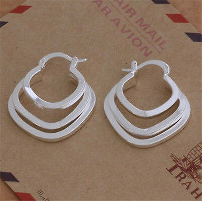 NEW Fashion Women Lady Jewelry 925Solid Silver Hoop Earrings XMAS GIFT+BOX