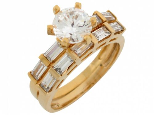 Details about  /10k or 14k Yellow Gold Round and Baguette CZ Engagement Wedding Band Duo Set