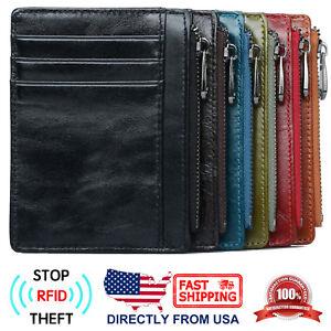 Men-039-s-RFID-Blocking-Full-Grain-Leather-Zipper-Pocket-Slim-Minimalist-Wallet