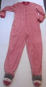 9ab97119d Nick   Nora One Piece Footed Red Fleece Pajamas Zip Up SOCK MONKEY ...