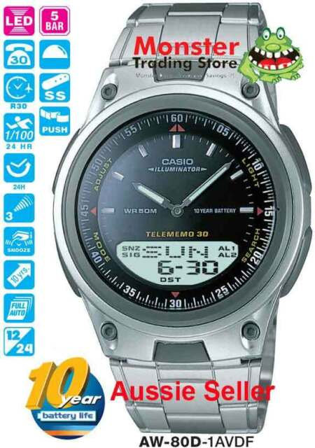 CASIO WATCH AW80 AW80D AW-80D-1AV DUALTIME TELEMEMO 12 MONTH WARANTY