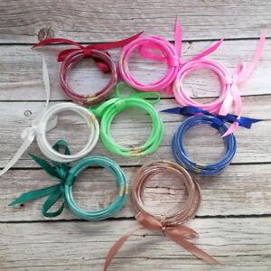 All-Weather-Glitter-Jelly-Tube-Bangle-Bracelet-Ribbon-Bow-Gold-Clasp-5-PCS-Set