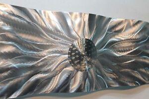 Large-Silver-Wave-Metal-Wall-Art-Very-Cool-Sculpture-Modern-Decor-Jon-Allen