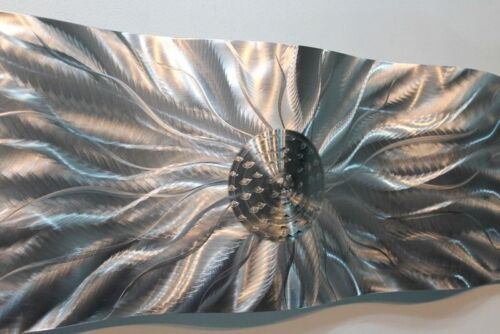Statements2000 Abstract Silver Metal Wall Accent Sculpture Jon Allen Static Wave