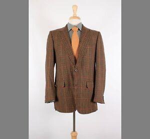Sulka 42R Brown Check Cashmere Two Button Sport Coat Blazer Jacket