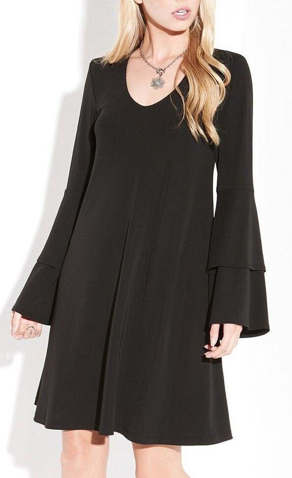 Karen Kane 4L60154 schwarz Tierot Bell Sleeve V-Neck  Stretch Jersey Dress -