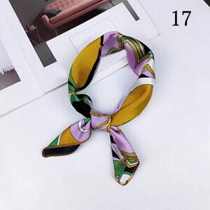 Lady-Small-Square-Satin-Head-Neck-Scarf-Bandana-Hair-Tie-Band-Wraps-Handkerchief
