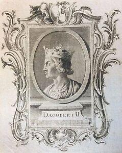 Very-Rare-Print-Original-Dagobert-II-18th-Anonymous-France-King-King