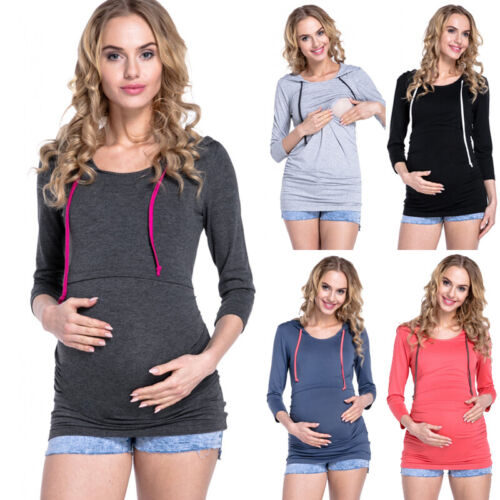Women Long Sleeve Nursing Top Ladies Breastfeeding Hooded Jumper Plain Maternity