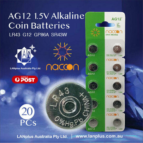 20X AG12 1.5v LR43 G12 SR43W 186 GP86A Alkaline Button Coin Battery in Melbourne