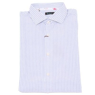 1633x Camicia Uomo Brouback Textured Shirt White/blue Cotton Man Fashionable(In) Style;