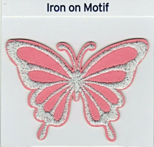 BRAND NEW PINK SILVER BUTTERFLY IRON ON APPLIQUE MOTIF PATCH