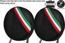 WHITE STITCH ITALIAN STRIPES 2X FRONT HEADREST SKIN COVER FITS FIAT 500 07-15
