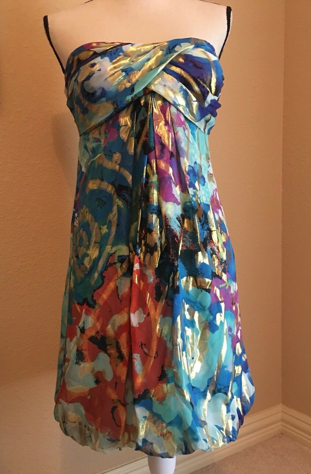 Designer Cache Size 10 Dress bluee   Patterned Print Very Nice   New