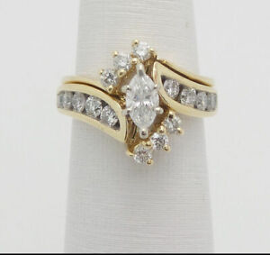 Marquise-Cut-Diamond-Wedding-Engagement-Bridal-Ring-Set-14K-Yellow-Gold-Over-2CT