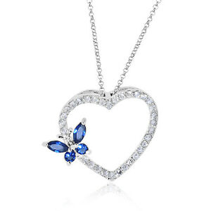 Sapphire-amp-CZ-Heart-Pendant-in-White-Gold-Over-Bronze-with-Chain