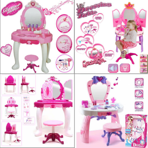 GIRLS GLAMOUR PRINCESS MAKEUP MIRROR VANITY DRESSING STOOL TABLE TOY XMAS GIFT