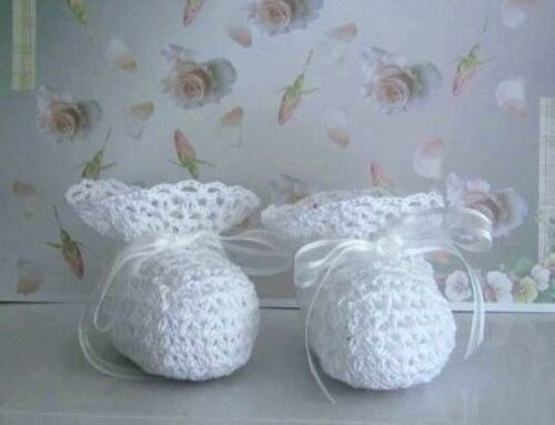 Crochet Pattern Vintage Heirloom Lacy Baby Booties Shoes Christening Baptism