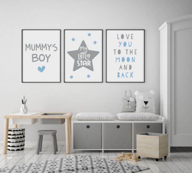 Set Of 3 Mummy S Boy Little Star Blue Grey Prints Nursery Boys Room Wall Art